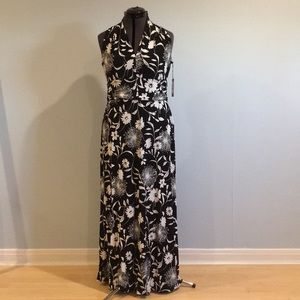 Vince Canute PL Long Dress Black & White Print NWT